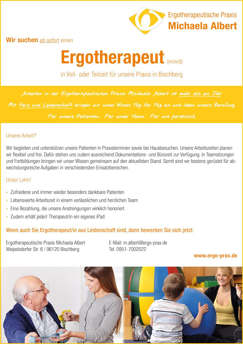 Wir suchen ab sofort einen Ergotherapeut (m/w/d) in Voll- oder Teilzeit für unsere Praxis in Bischberg